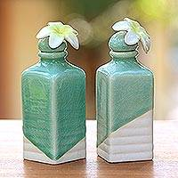Ceramic oil bottles, 'Frangipani' (pair) - Celadon Ceramic Green Floral Oil Bottles (Pair)