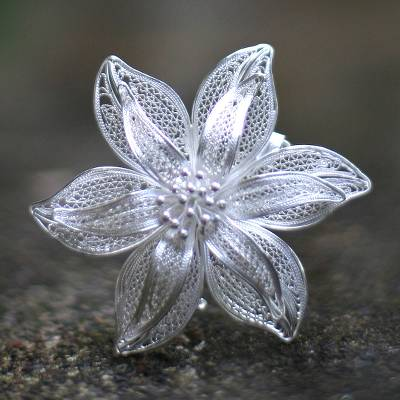 Sterling silver brooch pin, 'Tiger Lily' - Filigree Flower Sterling Silver Brooch Pin