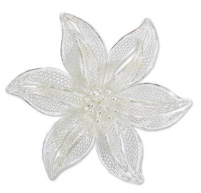 Filigree Flower Sterling Silver Brooch Pin