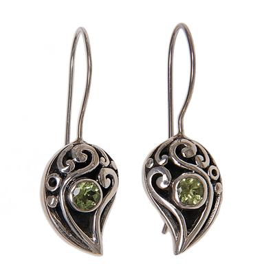 Sterling Silver Peridot Drop Earrings
