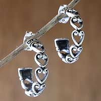 Sterling silver hoop earrings, 'Silver Hearts' - Sterling silver hoop earrings