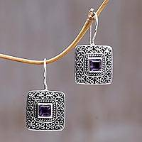 Amethyst drop earrings, 'Adoration' - Amethyst drop earrings