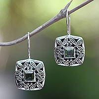 Peridot earrings, 'Cassava Leaves' - Sterling Silver Peridot Drop Earrings
