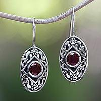 Garnet drop earrings, 'Desire' - Garnet drop earrings