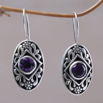 Amethyst drop earrings, 'Desire' - Artisan Crafted Balinese Earrings in Silver 925 and Amethyst