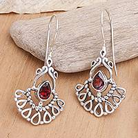 Garnet dangle earrings, 'Frozen Flame' - Garnet dangle earrings