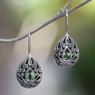 Peridot drop earrings, 'Paradise Tears' - Peridot Sterling Silver Drop Earrings