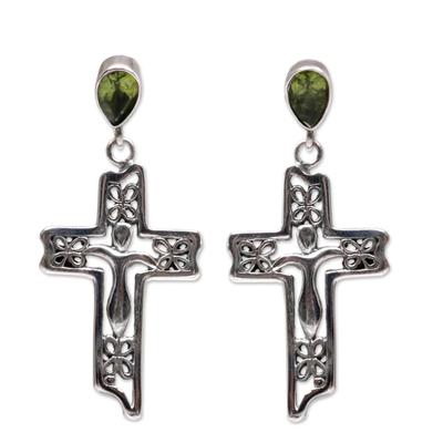 Sterling Silver Peridot Religious Dangle Earrings