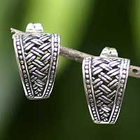 Sterling silver drop earrings, 'Sterling Weaves' - Sterling Silver Drop Earrings from Indonesia