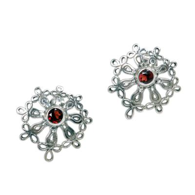 Floral Sterling Silver Garnet Button Earrings