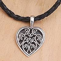 Leather necklace, 'Hibiscus Leaf' - Leather and Sterling Silver Heart Necklace