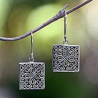 Sterling silver flower earrings, 'Magical Windows' - Sterling silver flower earrings