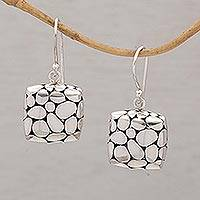 Earrings, 'Silver Pebbles' - Earrings