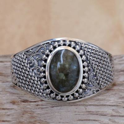 Labradorite cuff bracelet, 'Glorious' - Labradorite Sterling Silver Cuff Bracelet