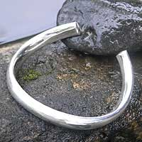 Sterling silver cuff bracelet, 'Rounded Horseshoe' - Modern Sterling Silver Cuff Bracelet from Indonesia