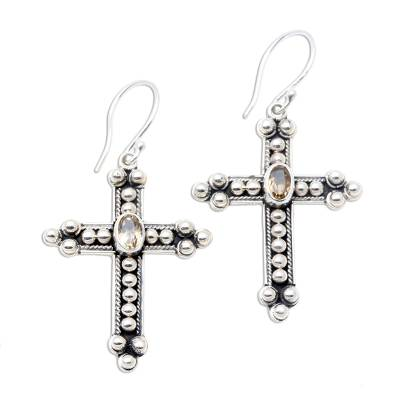 Citrine cross earrings