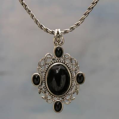 Onyx pendant necklace, 'Java Queen of the Night' - Onyx pendant necklace