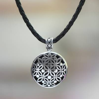 Leather pendant necklace, 'Java Rosette' - Hand Made Floral Sterling Silver Pendant Necklace