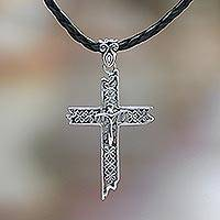 Leather cross necklace, 'Contemporary Cross' (Indonesia)