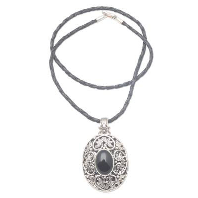 Sterling Silver and Onyx Pendant Necklace