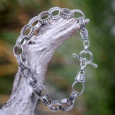 Mens sterling silver bracelet, Hand in Hand