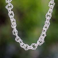 Long chain necklace, 'Silver Geometry' - Silver Plated Chain Necklace