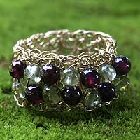 Gold plated garnet ring, 'Golden Nature' - Gold Plated Garnet Ring