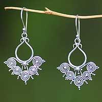 Sterling silver dangle earrings, 'Goddess Swirls' - Sterling Silver Dangle Earrings