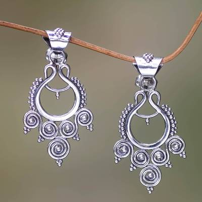 Sterling silver dangle earrings, 'Goddess Coils' - Indonesian Sterling Silver Dangle Earrings