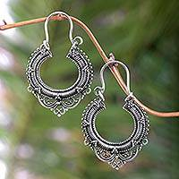 Sterling silver hoop earrings, 'Complexity' - Sterling Silver Hoop Earrings