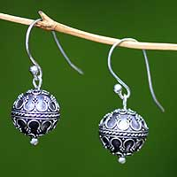 Sterling silver dangle earrings, 'Exotic Globe' - Indonesian Sterling Silver Dangle Earrings