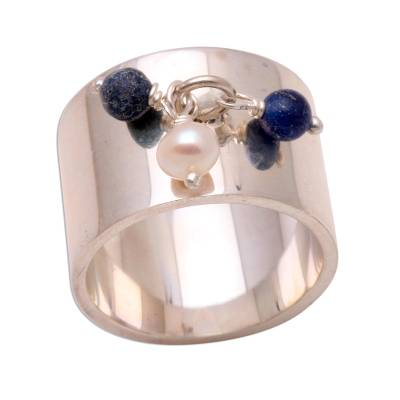 Pearl and Lapis Lazuli Wide Band Ring Balinese Jewelry