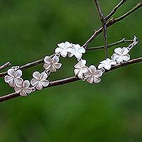 Bracelet, 'Frangipani' - Floral Sterling Silver Link Bracelet
