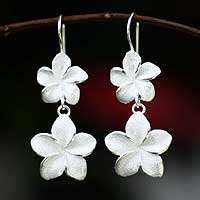 Earrings, 'Frangipani Twins' - Floral Sterling Silver Dangle Earrings