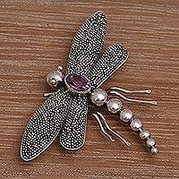 Amethyst brooch pin, 'Enchanted Dragonfly' - Amethyst brooch pin