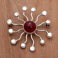 Carnelian brooch pin, 'Sunshine' - Indonesian Carnelian and Sterling Silver Brooch Pin
