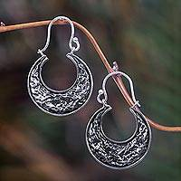Sterling silver hoop earrings, 'New Moon' - Sterling silver hoop earrings