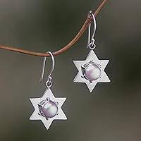 Pearl dangle earrings, 'Bali Star' - Pearl dangle earrings