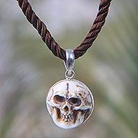 Bone and silk choker, 'Aged Immortal Smile' - Artisan Crafted Skull Necklace