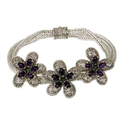 Unique Plumeria Flower Sterling Silver Amethyst Ornate Chain Bracelet