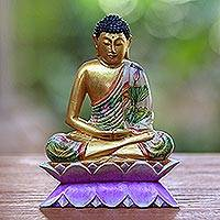 Wood statuette, 'Buddha on a Lotus' - Hand Painted Wood Sculpture
