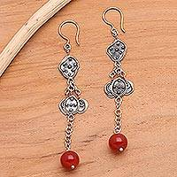 Carnelian dangle earrings, 'Unique' - Carnelian dangle earrings
