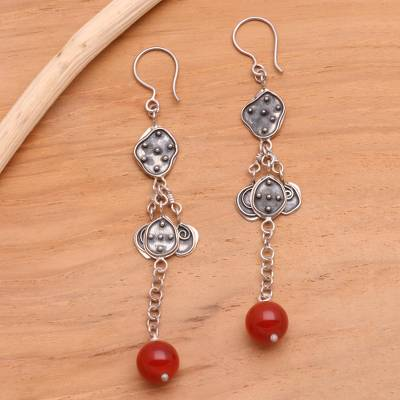 Carnelian dangle earrings, Unique