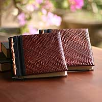 Natural fiber photo albums, 'Eco-Friendly Brown' (medium, pair) - Natural Fiber Photo Albums (Pair)