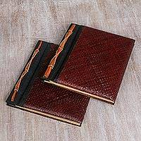 Natural fiber photo albums, 'Eco-Friendly Brown' (large, pair) - Natural Fiber Photo Albums (Large, Pair)