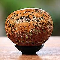 Coconut shell sculpture, 'Rabbit Hop' - Hand Carved Coconut Shell Sculpture and Base