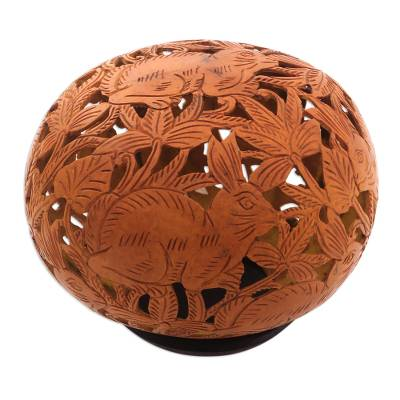 Hand Carved Coconut Shell Sculpture and Base
