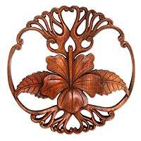 Wood panel, 'Hibiscus Majesty' - Handcrafted Indonesian Wood Relief Panel
