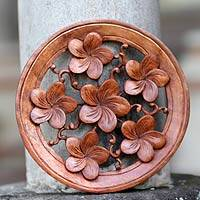 Wood wall panel, 'Frangipani' - Hand Made Wood Relief Panel