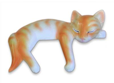Handcrafted Wood Cat Sculpture